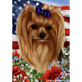Patriotic Yorkshire Terrier Flag