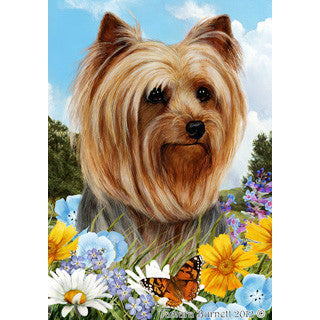 Tamara Burnett Summer Flowers Yorkshire Terrier Flag