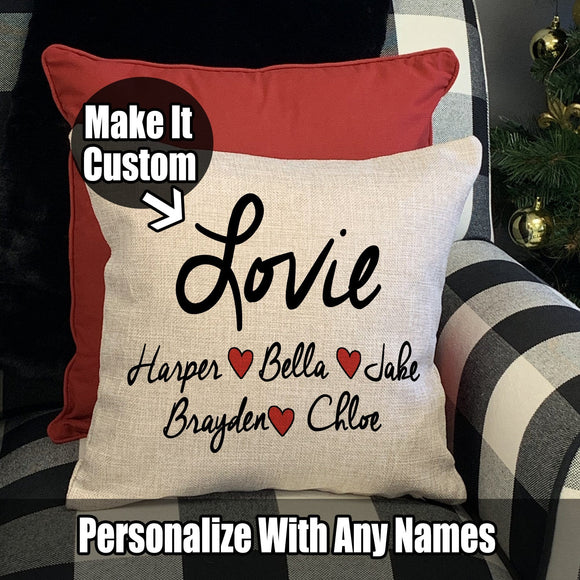 Personalized Lots of Love Family Pillows