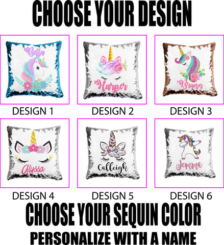 Custom Sequin Unicorn Pillows, choose from 6 designs,