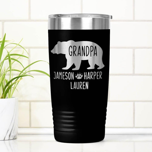 Personalized Grandpa Bear Laser Etched Tumbler