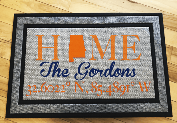 Personalized Auburn Alabama Home Door Mat featuring Stadium Coordinates