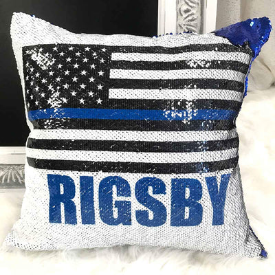 Personalized Police Officer Blue Line Pillow