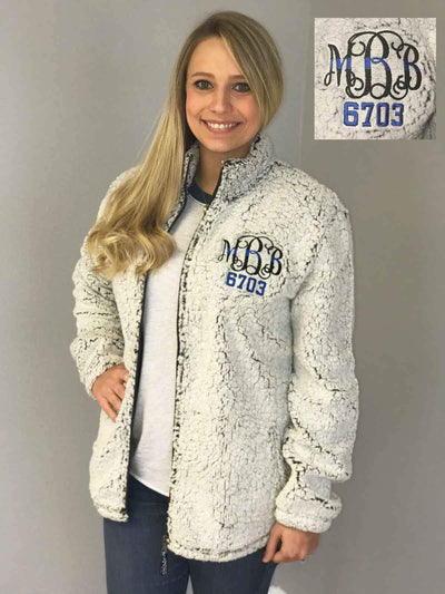 Personalized Back the Blue Full Zip Sherpa Jacket