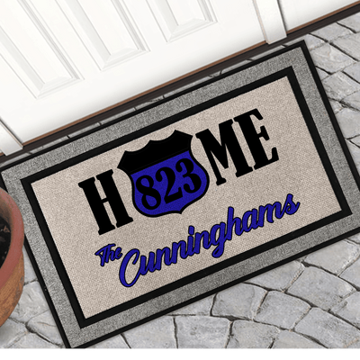 Personalized Back The Blue 18x30 Welcome Mat Perfect Family Gift