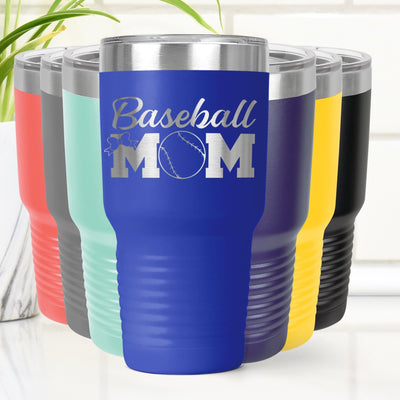 Baseball MOM Laser Etched Tumbler Cup 20 oz. or 30 oz.