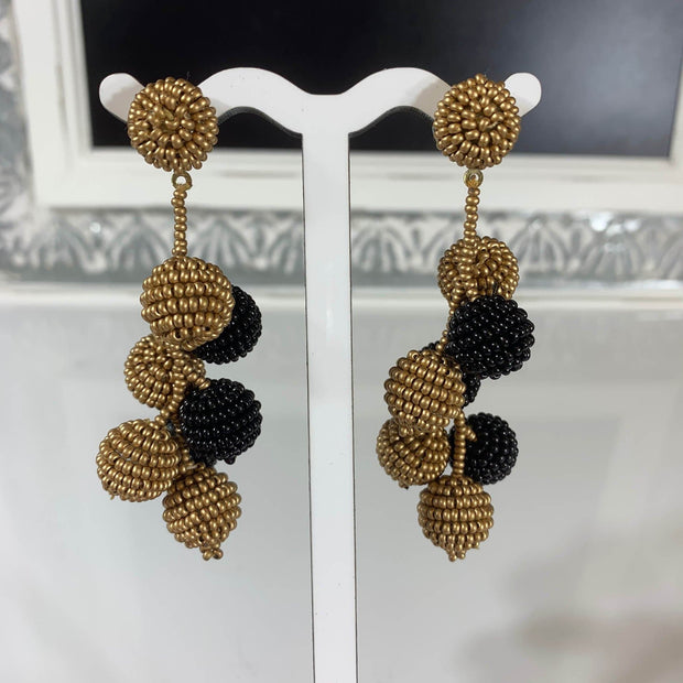 Black and Gold Bead Ball Earrings