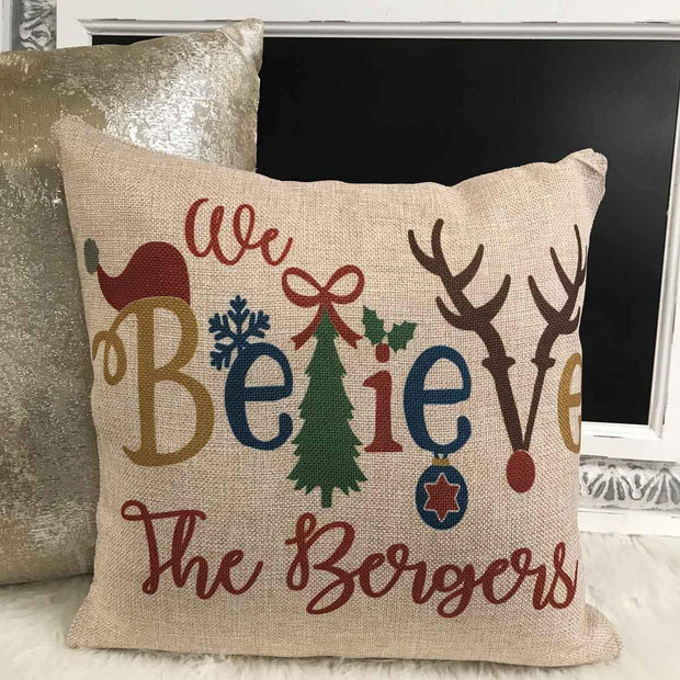Personalized We Believe Christmas Burlap Pillow