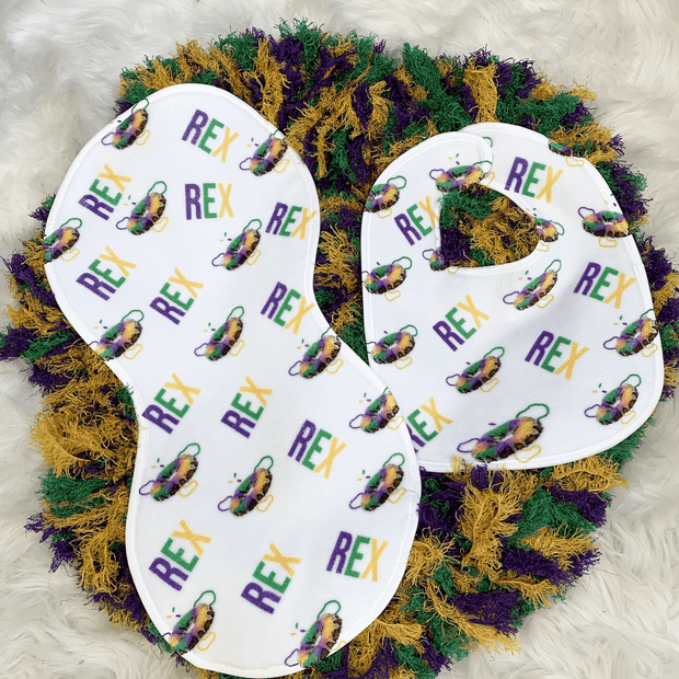 Mardi Gras King Cake Baby Bib and Burp Cloth