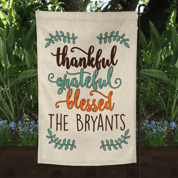 PERSONALIZED FALL Thankful Grateful & Blessed  FAUX BURLAP GARDEN FLAG 12X18 | WELCOME PUMPKIN FARMHOUSE DECOR-YARD OUTDOOR DECOR