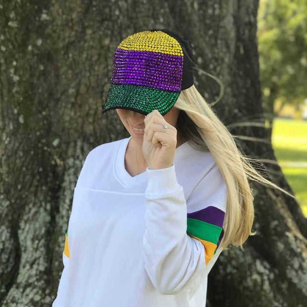 Bedazzled Mardi Gras Block Hat