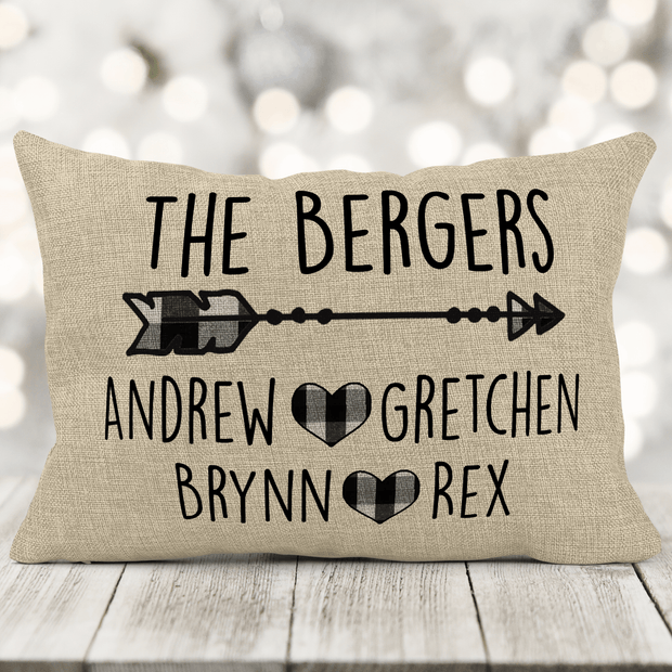 "Personalized Family Name Black And White Buffalo Plaid Faux Burlap Pillow 12x18"" with insert"