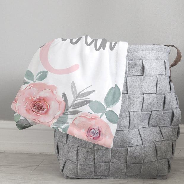 Pink & Gray Baby Blanket on Basket