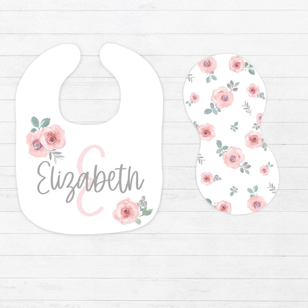 Pink and Gray Floral Bib and Burp Cloth