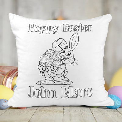 Personalized Bunny Activity Coloring Pillow with 10 Washable Markers