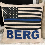 Personalized Burlap Police Pillow