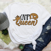 Camping Queen Gold Glitter Short Sleeved Camping Graphic T Shirt Size S-3X