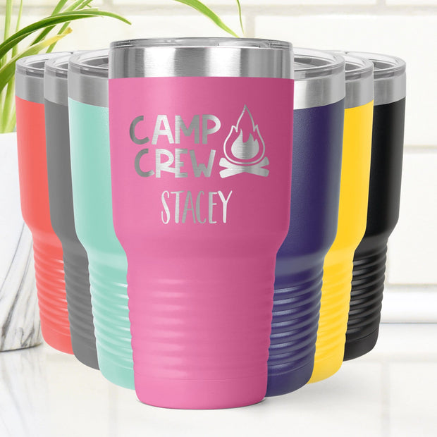 Personalized Camping Crew Laser Engraved Tumbler Cup 20 oz. or 30 oz. Add Your Name