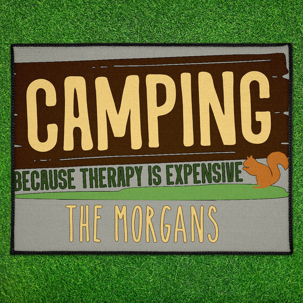 Personalized Camping Because Therapy is Expensive Floor Mat 18in x 24in Indoor/Outdoor