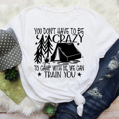 Short Sleeved Crazy Camping Graphic T Shirt Size S-3X