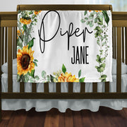 Sunflower Baby Blanket Over A Crib
