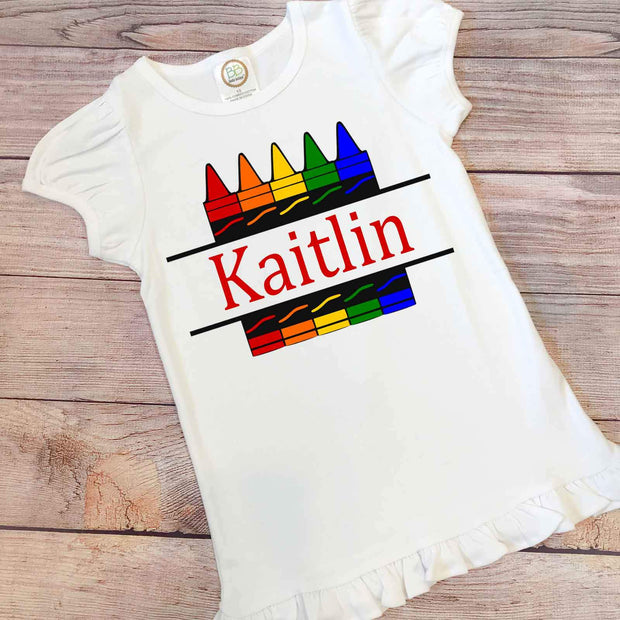 Personalized Crayon Girl Back to School Shirt