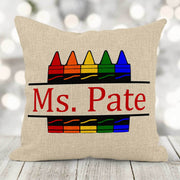 Personalized Teacher Pencil/Crayon 16x16 Burlap Pillow