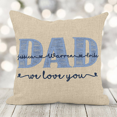 Father's Day Gift Personalized Dad or Granddad Burlap Pillow with Children Names 16x16