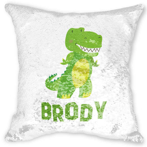 Personalized Reversible Dinosaur Sequin Pillow