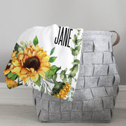 Sunflower Personalized Baby Blanket