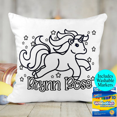 Personalized Unicorn Activity Coloring Pillow with 10 Washable Markers