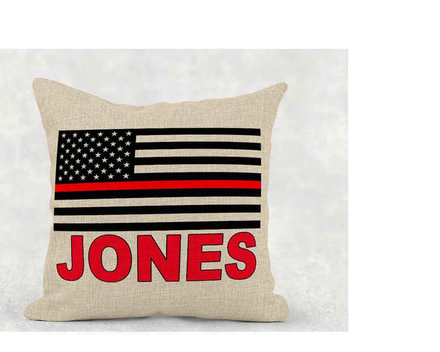 Personalized Firefighter Burlap Pillow
