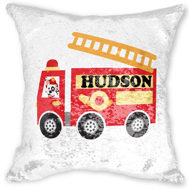 Firetruck Reversible Sequin Pillow
