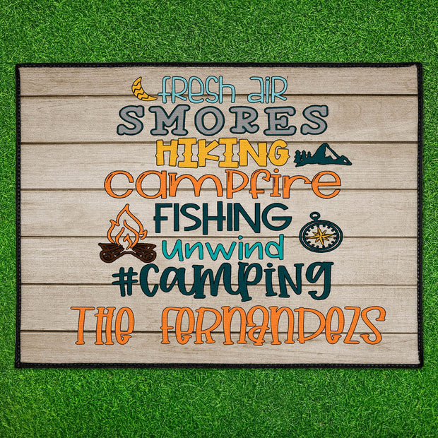 Personalized Family Name Camping Floor Mat 18in x 24in Indoor/Outdoor