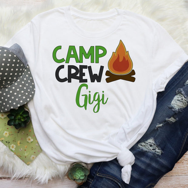 Personalized  Short Sleeved Camping Crew Graphic T Shirt Size S-3X Add Any Name