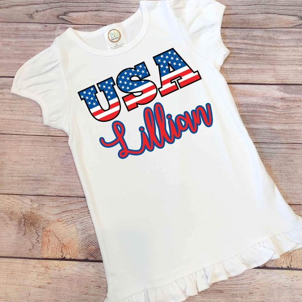 4th of July Personalized Shirt- Girl