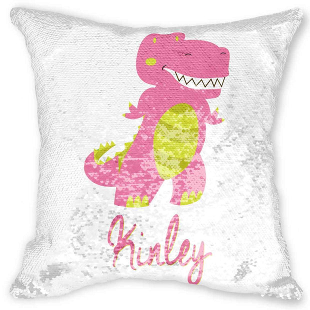 Pink Dinosaur Personalized Mermaid Pillow