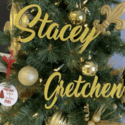 Gold Laser Cut Name Christmas Ornament