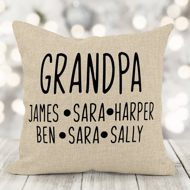 Personalized Grandfather Burlap Pillow