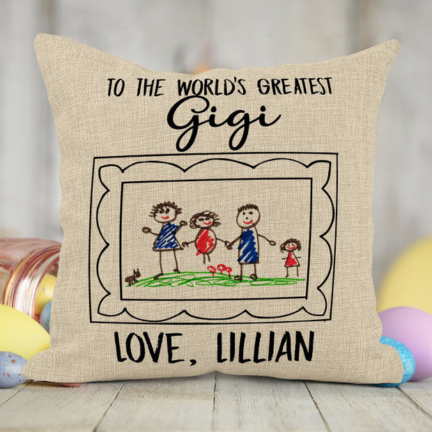 Personalized Burlap Frame Activity Coloring Pillow with 10 Washable Markers