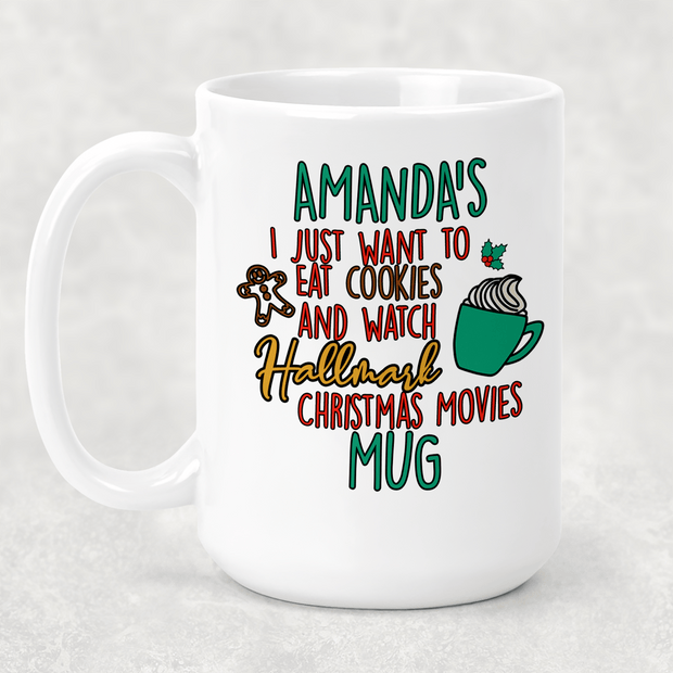 Personalized Hallmark Christmas Movies Cocoa or coffee mug 15oz. GREAT FAMILY GIFT
