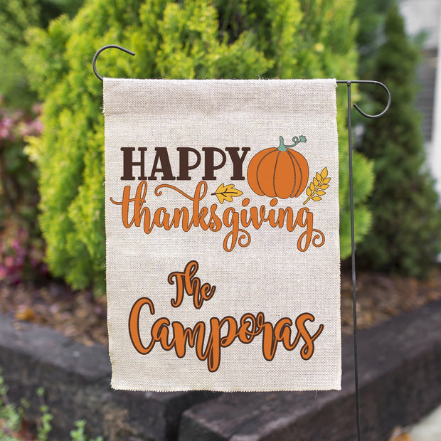 PERSONALIZED FALL HAPPY THANKSGIVING FAUX BURLAP GARDEN FLAG 12X18 | WELCOME PUMPKIN FARMHOUSE DECOR-YARD OUTDOOR DECOR