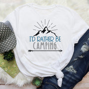 Short Sleeved I'd Rather Be Camping Graphic T Shirt Size S-3X