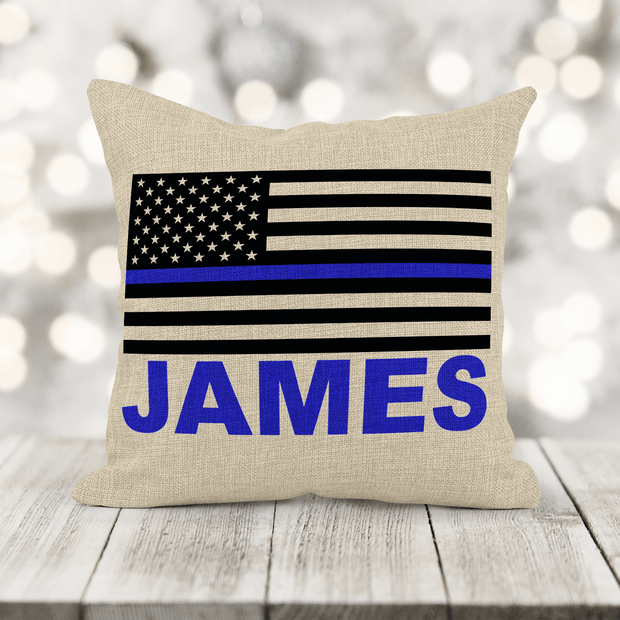 Personalize Thin Blue Line Pillow Police Officer Gift