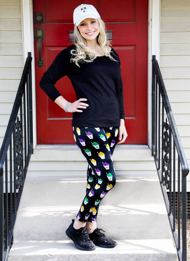 Snowball Mardi Gras Themed Legging