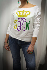 Queen Of My Krewe Monogrammed Mardi Gras Shirt