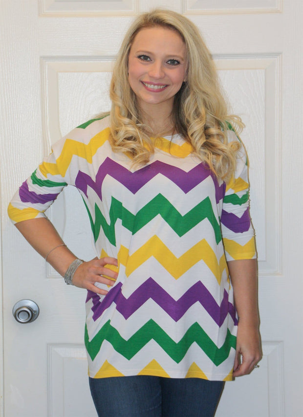 Mardi Gras Chevron Tunic Top