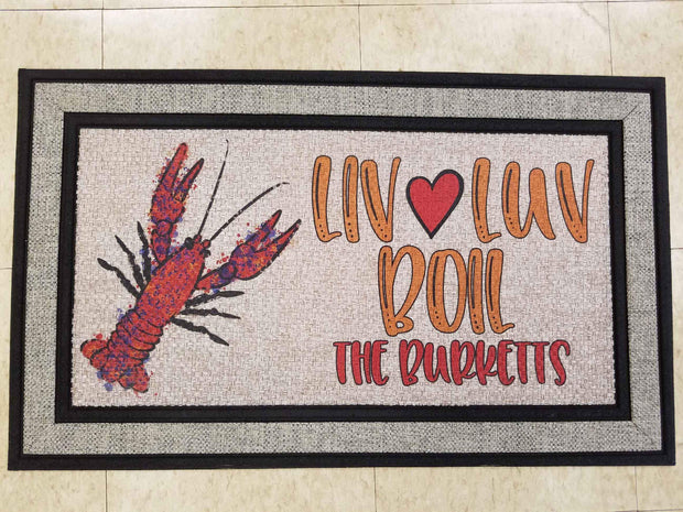 Liv-Luv-Boil Personalized Welcome Mat