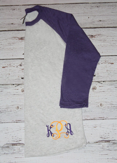 Monogrammed Purple and Gold  3/4 Sleeve Raglan