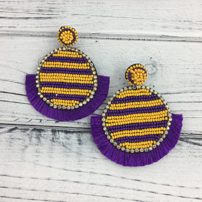 Purple and Gold Bead Circle Earrings
